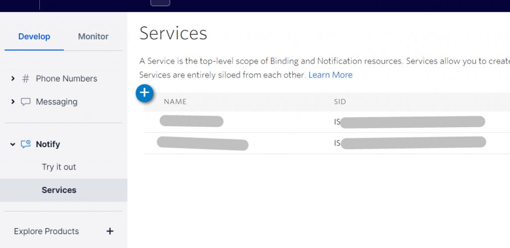 Twilio create notify service